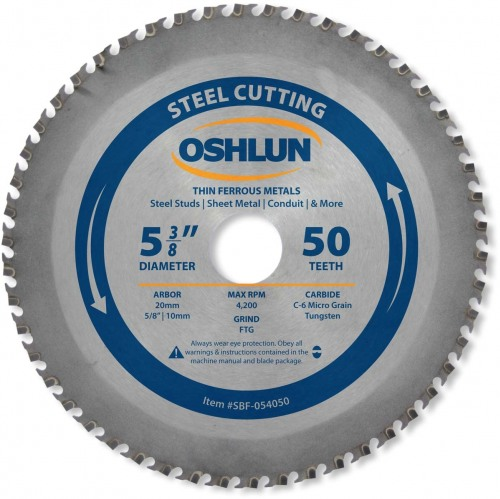 "OSHLUN Steel & Ferrous Metal Cutting, 5-3/8"" x 50T, 20mm Hole with 5/8"" & 10mm Bushings"