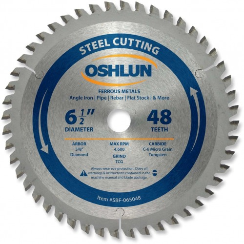 "OSHLUN Steel & Ferrous Metal Cutting Blade - 6-1/2"" x 48 Tooth, 5/8"" Hole w/Diamond Knock Out"