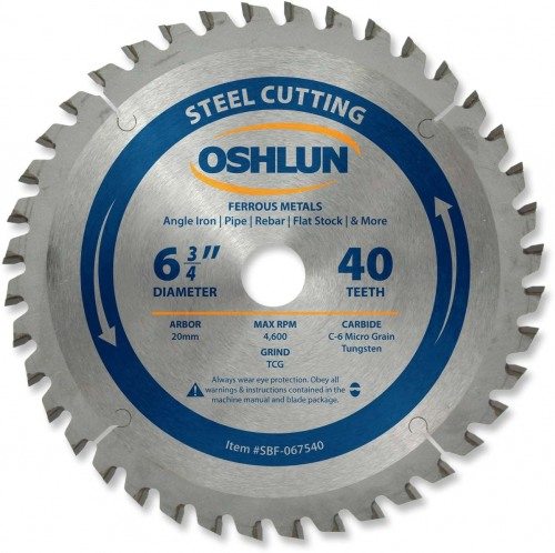 "OSHLUN Steel & Ferrous Metal Cutting Blade - 6-3/4"" x 40 Tooth, 20mm Hole"
