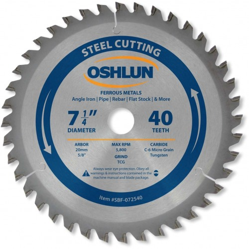 "OSHLUN Steel & Ferrous Metal Cutting Blade - 7-1/4"" x 40 Tooth, 20mm Hole With 5/8"" Bushing"