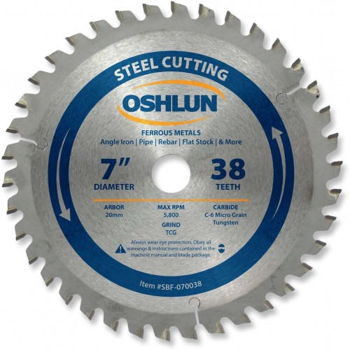 "OSHLUN Steel & Ferrous Metal Cutting Blade - 7"" x 38 Tooth, 20mm Hole"