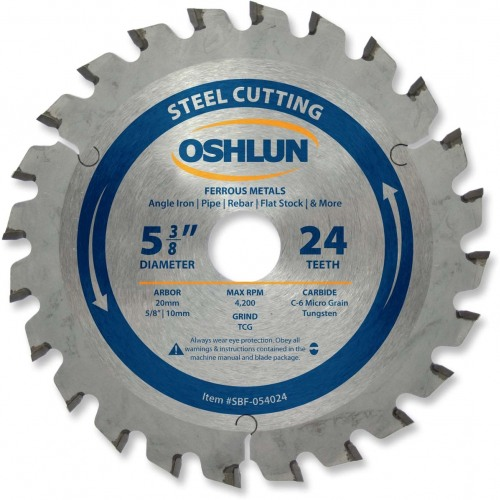 "OSHLUN Steel & Ferrous Metal Cutting Blade  5-3/8""x24T, 20mm Hole w/5/8"" & 10mm Bushings"