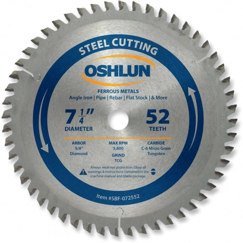 "OSHLUN Steel Cutting Saw Blade - 7-1/4"" x 52T, 5/8"" Hole with Diamond Knock Out"