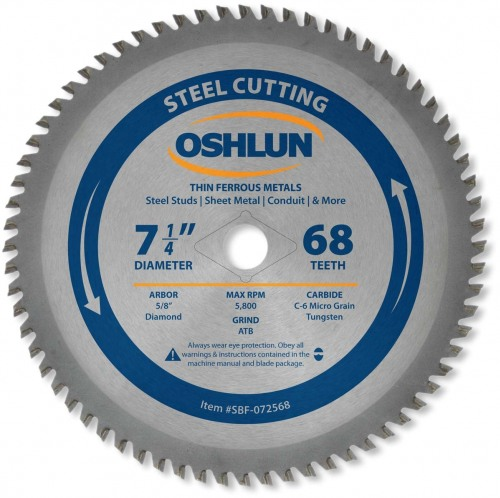 "OSHLUN Steel Cutting Saw Blade - 7-1/4"" x 68 Tooth, 5/8"" Hole with Diamond Knock Out"