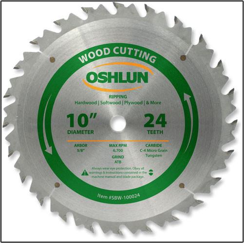 "10x24T Oshlun Rip Blade - 5/8"" Hole"