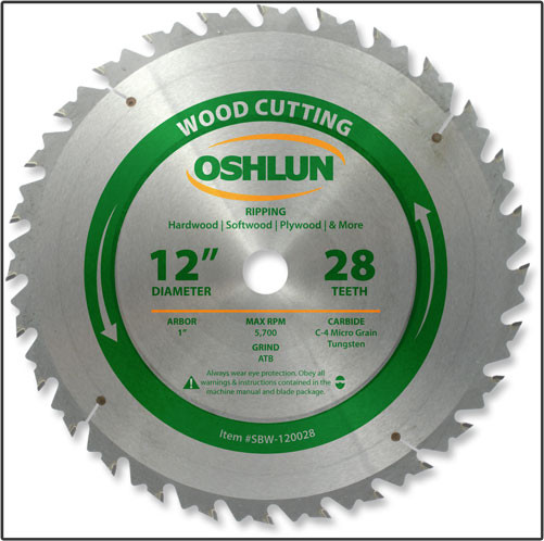 "12x28T Oshlun Rip Blade - 1"" Hole"