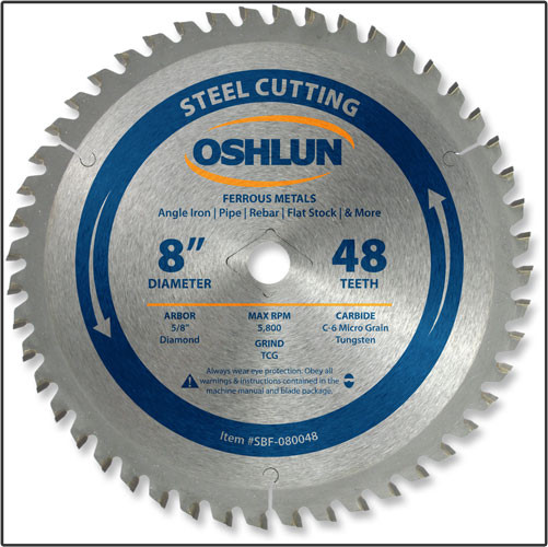 "OSHLUN Steel & Ferrous Metal Cutting Blade - 8"" x 48T, 5/8"" Hole W/Diamond Knock Out"