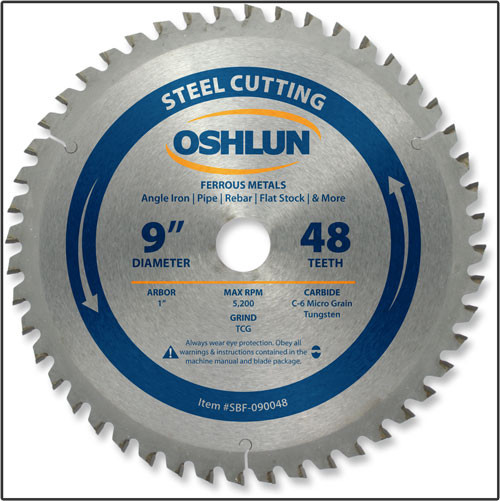 "OSHLUN Steel & Ferrous Metal Cutting Blade - 9"" x 48T, 1"" Hole"