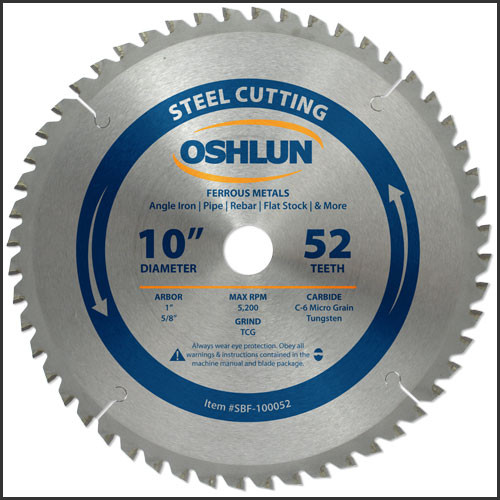 "OSHLUN Steel & Ferrous Metal Cutting Blade - 10"" x 52T, 1"" Hole with 5/8"" Bushing"
