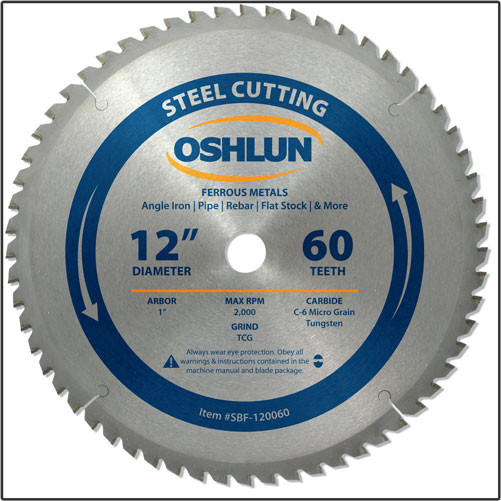 "OSHLUN Steel & Ferrous Metal Cutting Blade - 12"" x 60T, 1"" Hole"