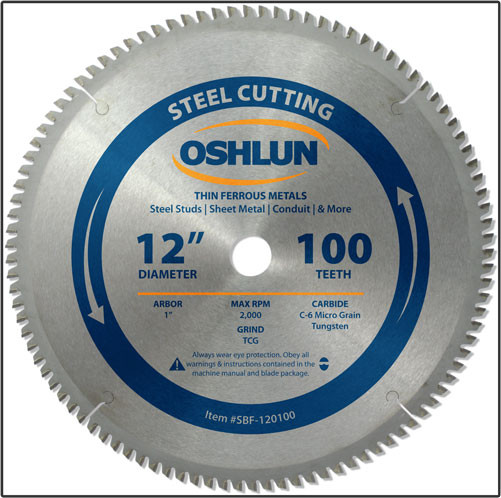 "OSHLUN Steel & Ferrous Metal Cutting Blade - 12"" x 100T, 1"" Hole"