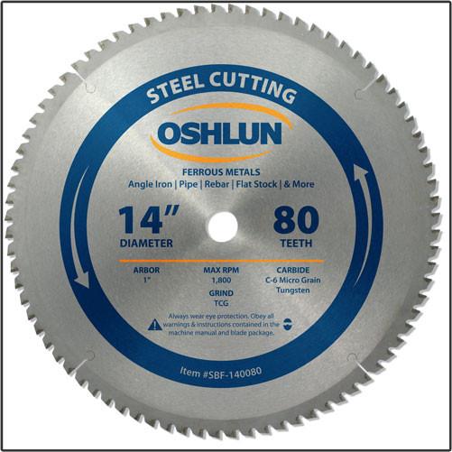 "OSHLUN Steel & Ferrous Metal Cutting Blade - 14"" x 80T, 1"" Hole"