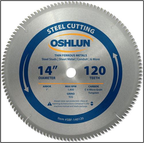 "OSHLUN Steel & Ferrous Metal Cutting Blade - 14"" x 120T, 1"" Hole"