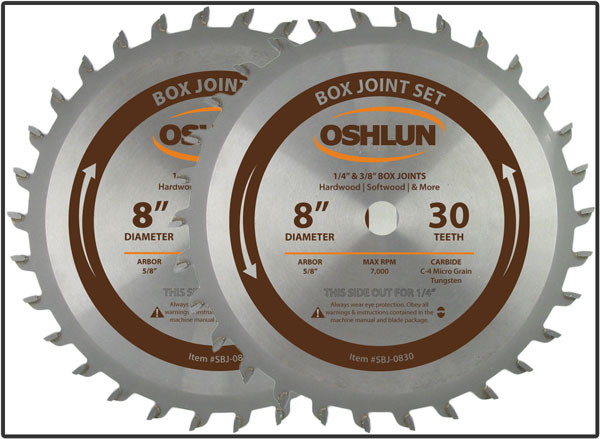 2 pc. Cutter Set For Box & Finger Joints - Made by Oshlun - $15.00 OFF Sharpening Coupons Included