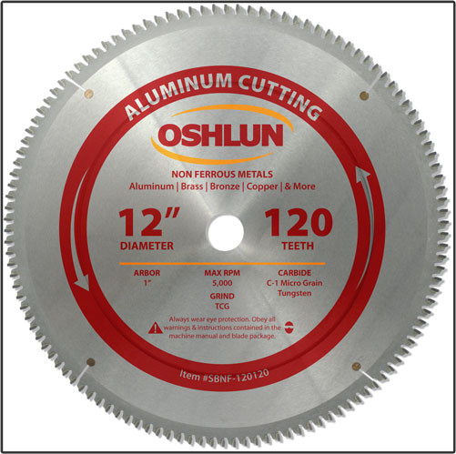 "Oshlun 12""x120T TCG, 1-Inch Hole for Aluminum & Non Ferrous Metals"