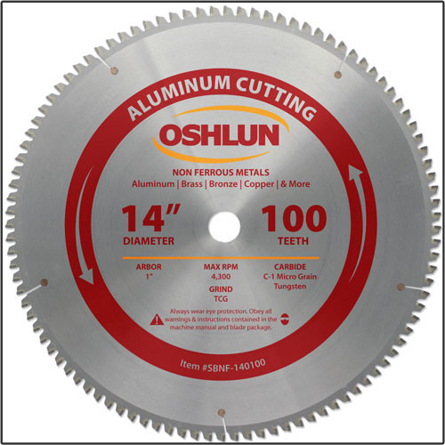 "Oshlun 14""x100T TCG, 1-Inch Hole for Aluminum & Non Ferrous Metals"