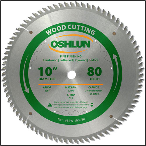"Oshlun 10x80T ATB Fine Finishing Saw Blade, 5/8"" Hole"