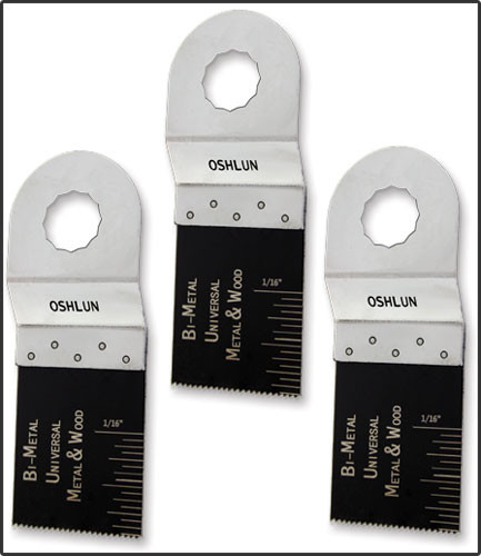 Oshlun MMR-0103 1-1/3-Inch Universal Bi-Metal Oscillating Tool Blade for Rockwell SoniCrafter, 3-Pack - Designed for Metal & Wood