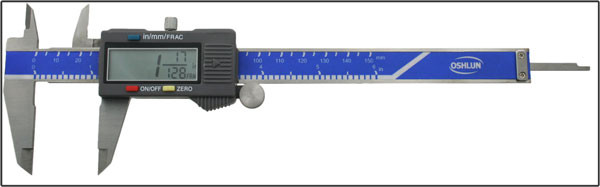 "Oshlun 6"" Stainless Steel Digital Caliper with Super Large Display - Now Measures in THREE Different Formats! Inch, Metric and Fractional"