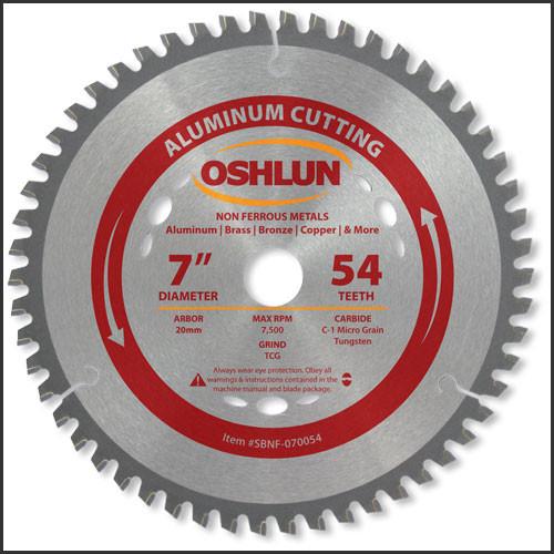 """Oshlun 7""""x54T TCG, 20mm Arbor for Aluminum & Non Ferrous Metals"""