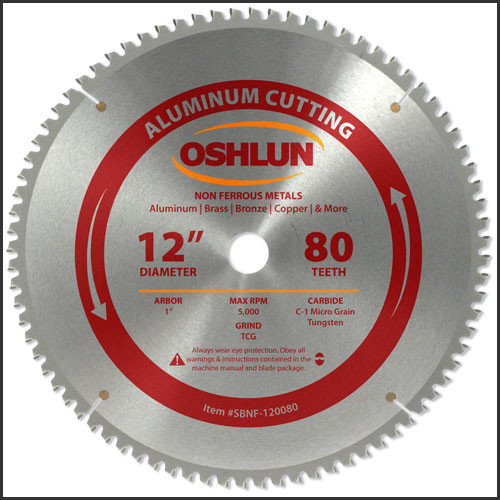 "Oshlun 12""x80T TCG, 1-Inch Hole for Aluminum & Non Ferrous Metals"