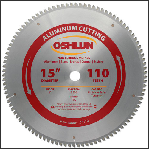 "Oshlun 15""x110T TCG, 1-Inch Hole for Aluminum &Non Ferrous Metals For Hitachi"
