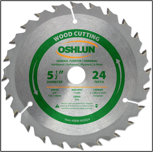 "Oshlun 5-1/2""x24T ATB General Purpose & Trimming Saw Blade, 5/8-Inch Hole (1/2-Inch & 10mm Bushings)"