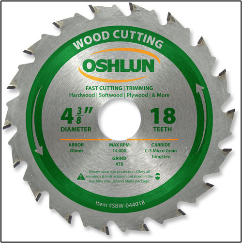 "Oshlun 4-3/8""x18T ATB Fast Cutting & Trimming Saw Blade, 20mm Arbor"