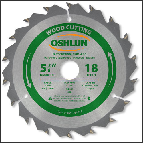 "Oshlun 5-3/8""x18T ATB Fast Cutting & Trimming Saw Blade, 20mm Hole (5/8"" & 10mm Bushings)"