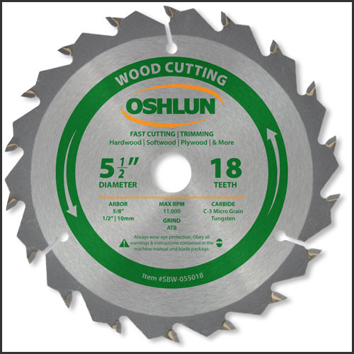 "Oshlun 5-1/2""x18T ATB Fast Cutting &Trimming Saw Blade, 5/8"" Hole (1/2"" & 10mm Bushings)"