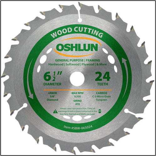 "Oshlun 6-1/2""x24T ATB General Purpose & Framing Saw Blade with 5/8"" Hole (Diamond Knockout)"