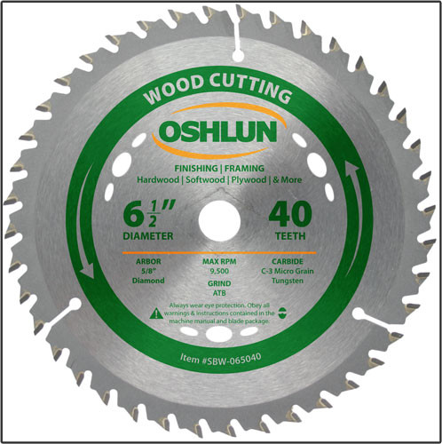 "Oshlun 6-1/2""x40T ATB Finishing & Framing Saw Blade, 5/8"" Hole (Diamond Knockout)"