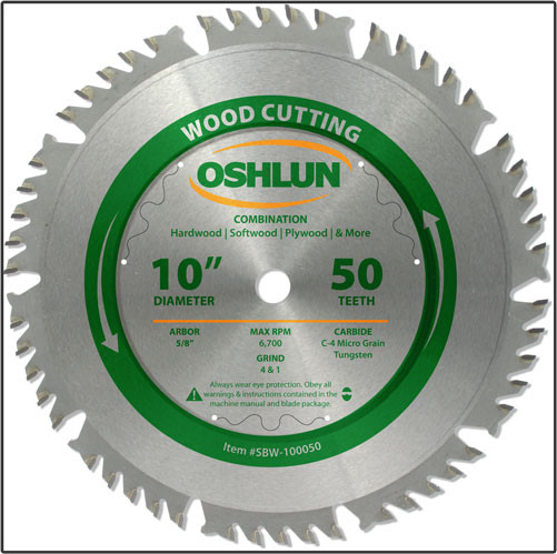 "Oshlun 10""x50T Combination Saw Blade, 5/8"" Hole"