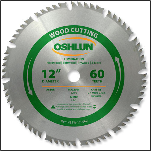 "Oshlun 12""x60T Combination Saw Blade, 1"" Hole"