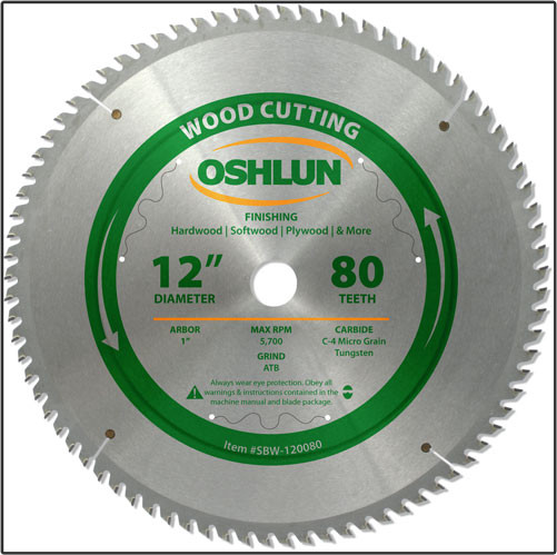 "Oshlun 12""x80T Finishing Saw Blade, 1"" Hole"