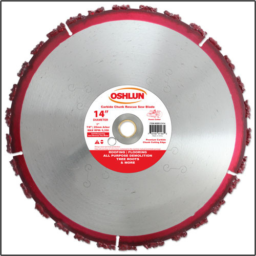 "Oshlun 14-Inch Carbide Chunk Blade with 1"" Hole for Rescue & Demolition"