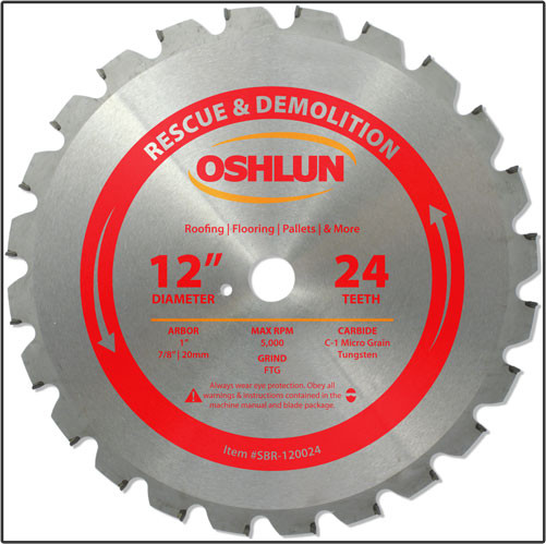 "Oshlun 12-Inch 24 Tooth FTG Saw Blade with 1"" Hole (7/8-Inch & 20mm Bushings) for Rescue & Demolition"