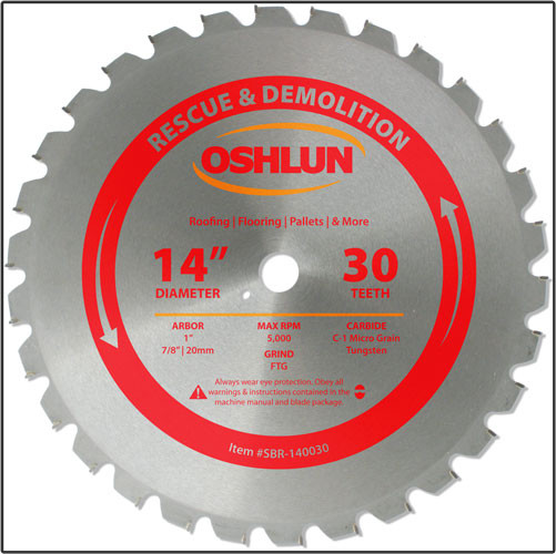 "Oshlun 14-Inch 30 Tooth FTG Saw Blade with 1"" Hole (7/8"" & 20mm Bushings) for Rescue & Demolition"