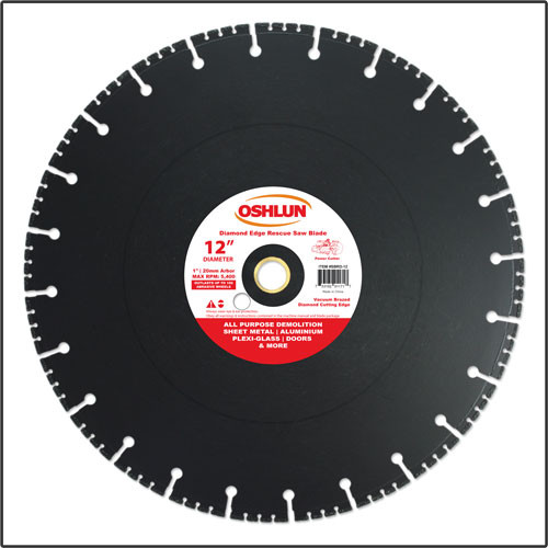"Oshlun 12-Inch Diamond Saw Blade with 1"" Hole with 20mm Bushing for Rescue & Demolition"