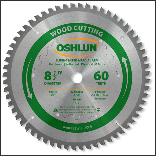 "Oshlun 8-1/2x60T Negative Hook Finishing ATB Saw Blade with 5/8"" Hole for Sliding Miter Saws"