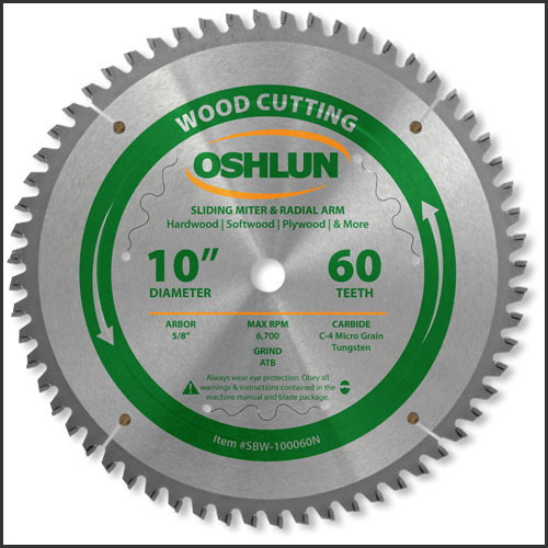 "Oshlun 10x60T Negative Hook Finishing ATB Saw Blade with 5/8"" Hole for Sliding Miter Saws"