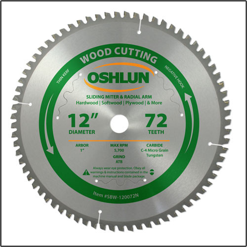 "Oshlun 12""x72T Negative Hook Finishing ATB Saw Blade with 1"" Hole for Sliding Miter Saws"