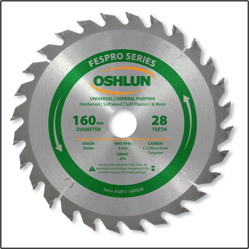 Oshlun 160mmx28T FesPro General Purpose ATB Saw Blade with 20mm Hole for Festool TS 55 EQ, DeWalt DWS520, & Makita SP6000K