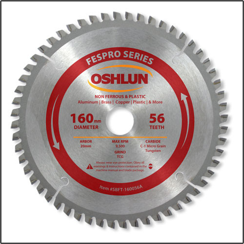 Oshlun SBFT-160056A 160mmx56T FesPro Non Ferrous TCG Saw Blade with 20mm Hole for Festool TS 55 EQ, DeWalt DWS520, & Makita SP6000K