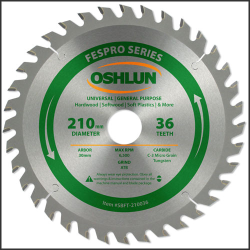 Oshlun 210mmx36T FesPro General Purpose ATB Saw Blade with 30mm Hole for Festool TS 75 EQ