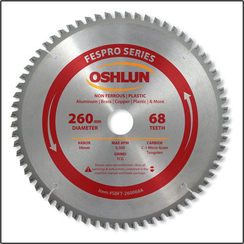 Oshlun 260mmx68T FesPro Non Ferrous TCG Saw Blade with 30mm Hole for Festool Kapex KS 120