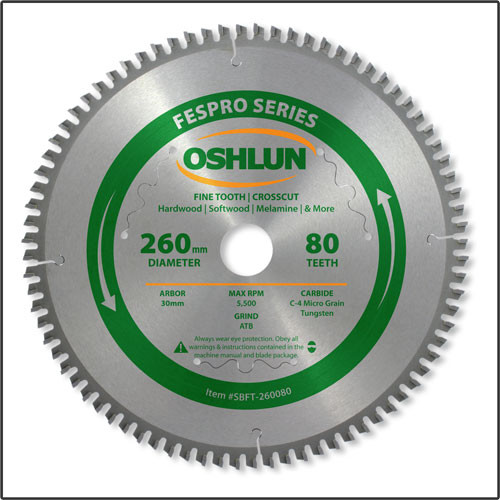 Oshlun 260mmx80T FesPro Crosscut ATB Saw Blade with 30mm Hole for Festool Kapex KS 120