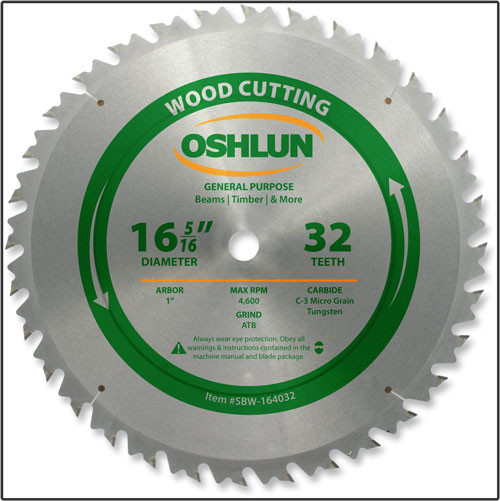 "Oshlun 16-5/16""x32 Tooth ATB Beam Saw Blade with 1-Inch Hole"