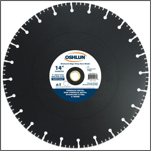 Oshlun 14-Inch Diamond Chop Saw Blade, 1-Inch Hole with 20mm Bushing for Stainless & Ferrous Metals