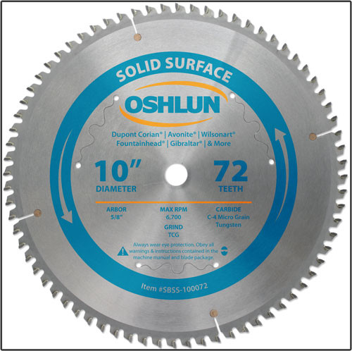 """Oshlun 10""""x72 Tooth TCG Saw Blade with 5/8-Inch Hole for Solid Surface"""